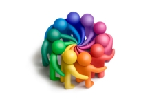 Multicolored plasticine human figures concluding an agreement on a white background